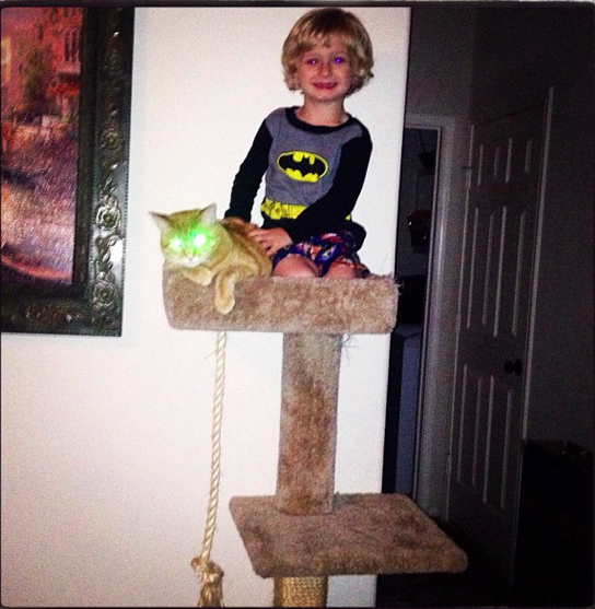Bat Spawn and his trusty minion, Lazr Cat. And, no. I have NO idea how he got up there.