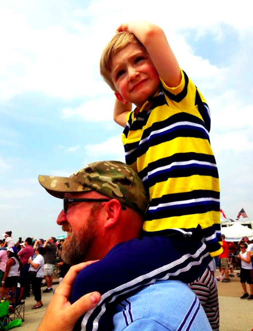 The Spawn loves airplanes. Watching The Blue Angels.