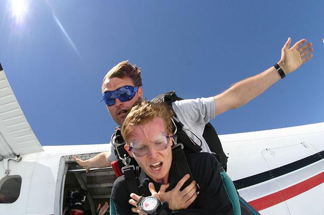 Image result for sky diving afraid